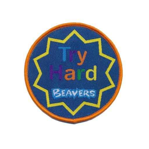 "Beavers ""Try Hard"" Fun Badge"