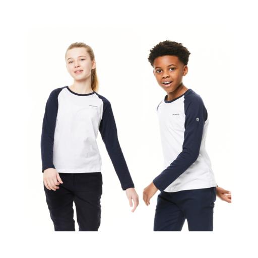 Craghoppers Kid's NosiBotanical Abbott Long Sleeved T-Shirt – Optic White / Blue Navy