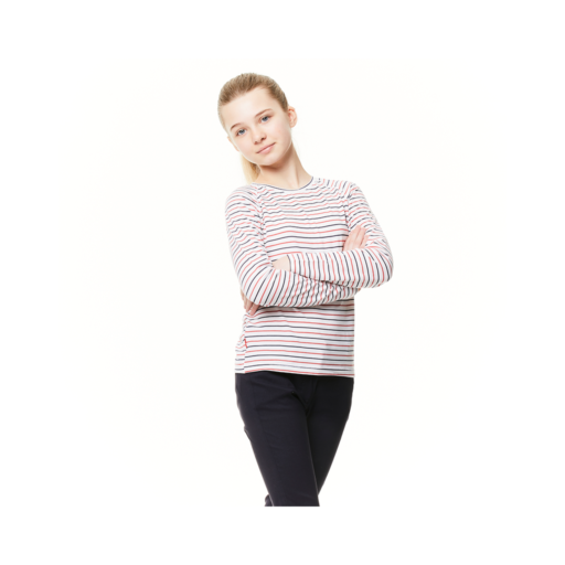 Craghoppers Kid's NosiLife Paola Long Sleeved T-Shirt – Blue Navy / Pompeian Red Stripe
