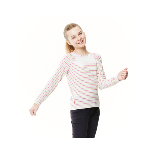 Craghoppers Kid's NosiLife Paola Long Sleeved T-Shirt – Raspberry / Lime Sorbet Stripe