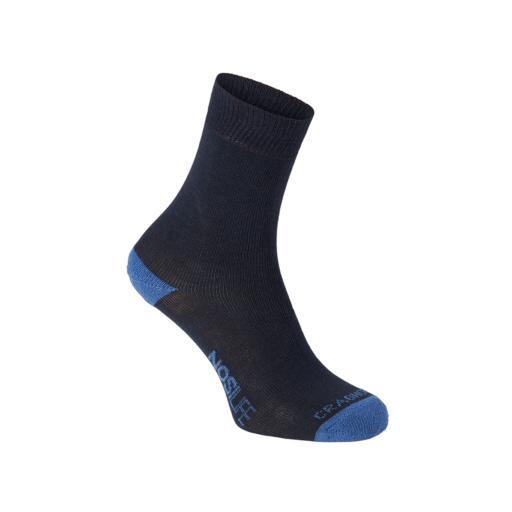 Craghoppers Men's NosiLife Adventure Socks – Dark Navy / Soft Denim Stripe – Twin Pack