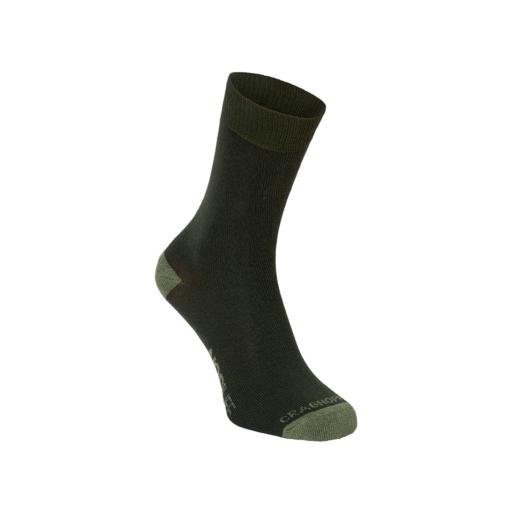 Craghoppers Men's NosiLife Adventure Socks – Parka Green / Dry Grass – Twin Pack
